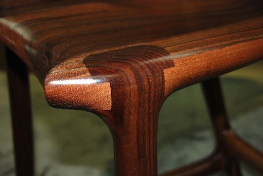 Sculpted Maloof joint in walnut, bar stool built by Paul Lemiski of Canadian Woodworks