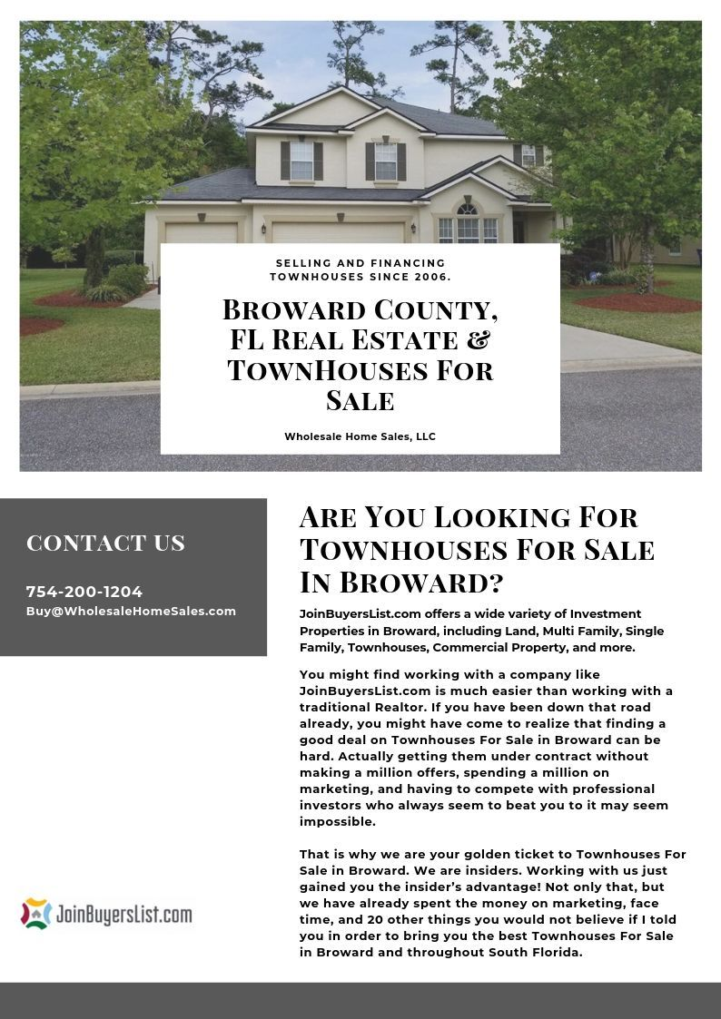 Broward County Fl Real Estate Townhouses For Sale Joinbuyerslist Townhouse Real Estate Commercial Property