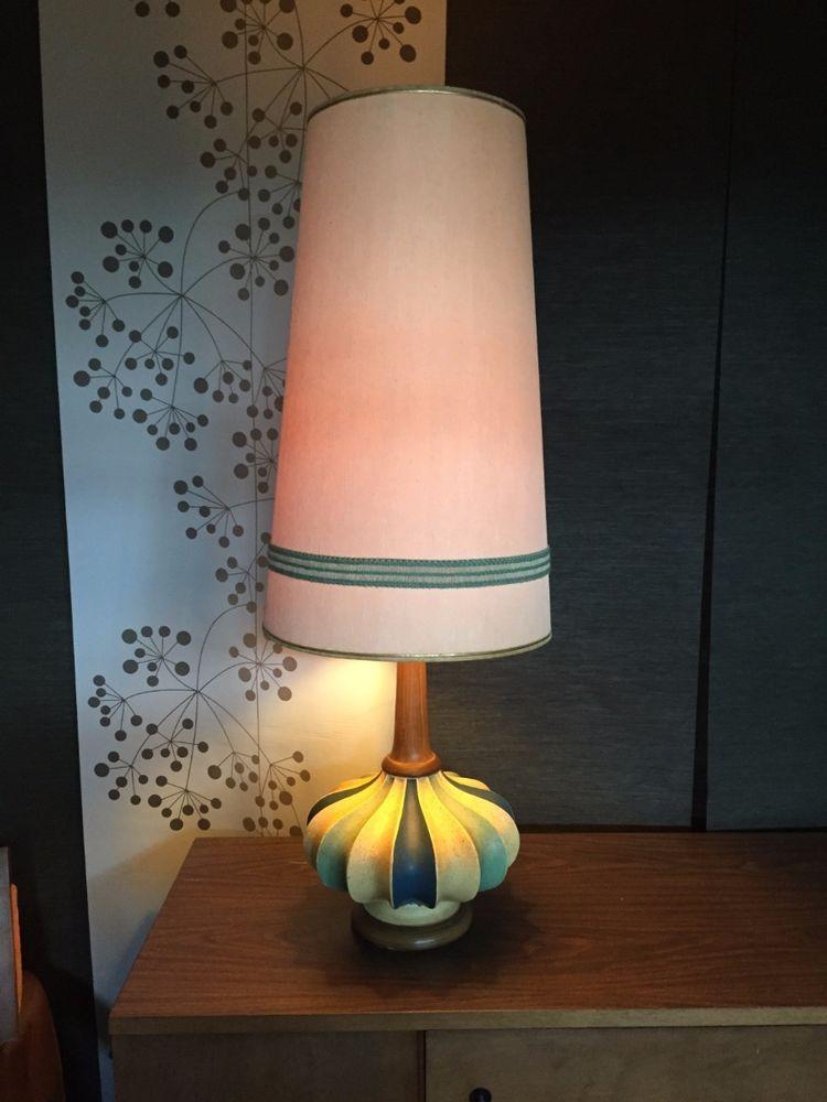 Vintage Mid Century Modern Table Lamp Very Retro Eames Era Atomic Huge Shade Mid Century Modern Table Lamps Mid Century Modern Lamps Mid Century Lamp