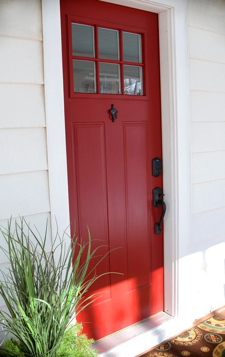 Welcoming Red Front Door Modern Masters Non Fade Paint In Color Sophisticated Project By Living Rich On Less