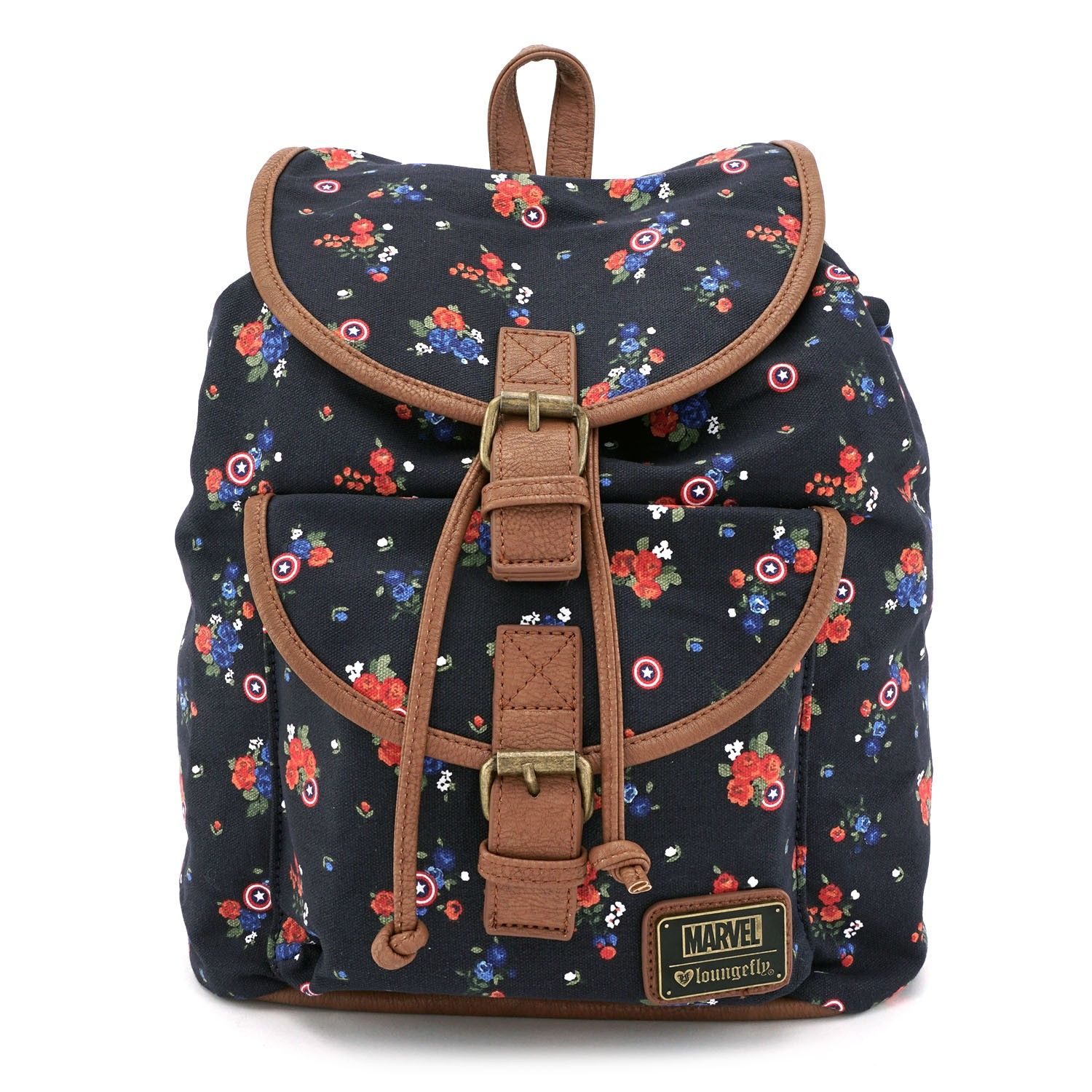 Loungefly x Captain America Floral Canvas Backpack - View All - Bags ... 24d3fc900538c
