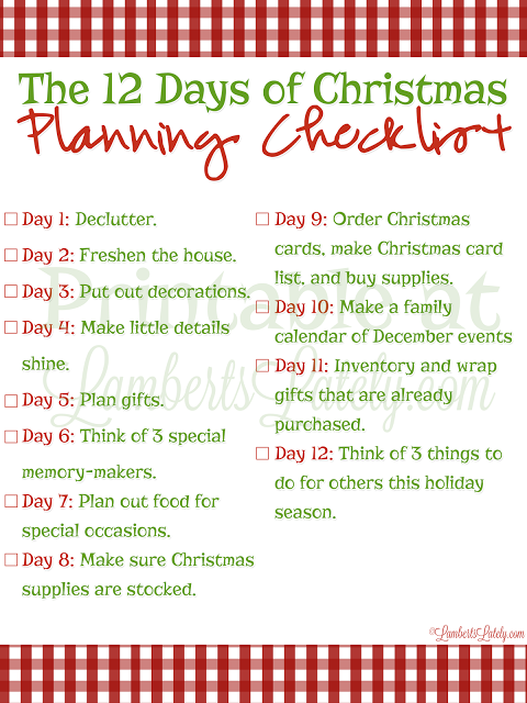 The 12 Days Of Christmas Planning Christmas Planning Christmas Planning Checklist Holiday Checklist Christmas
