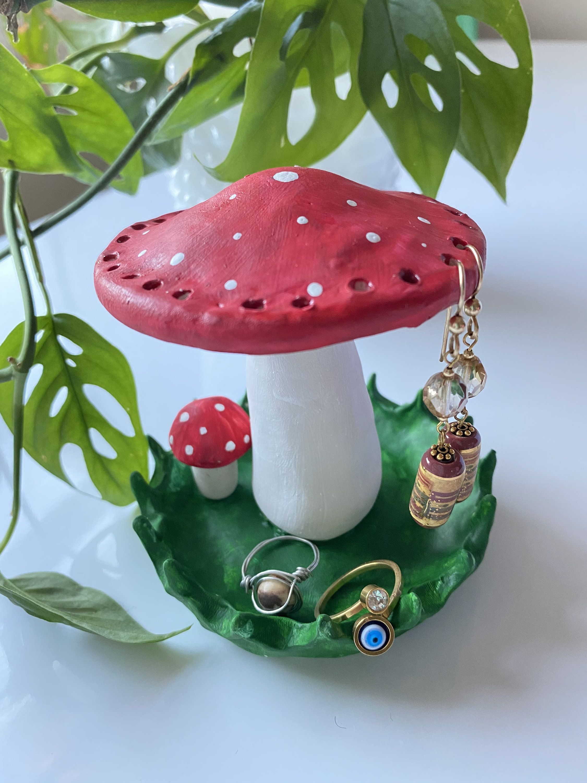 Classic Red Handmade Clay Mushroom Earring Holder