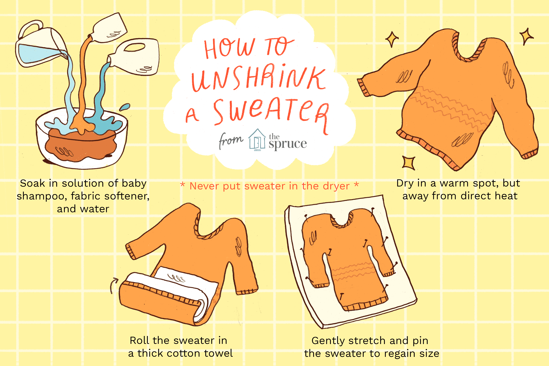 Learn How To Unshrink A Shrunken Sweater Shrunken Sweater Unshrink Clothes Sweaters