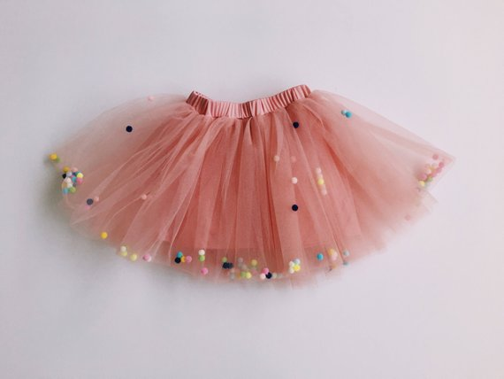 66d5048170 Pink Skirt - tulle skirt with pom poms - party skirt - Birthday skirt - party  tutu - tutu skirt - fe