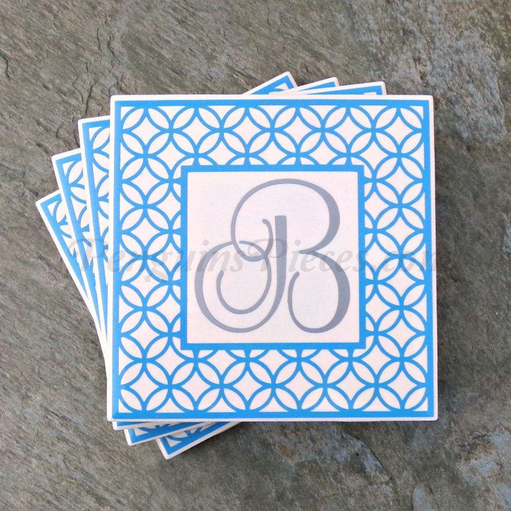 Personalized ceramic tile coasters geometric frame monogram personalized ceramic tile coasters geometric frame monogram wedding party favors customizable colors dailygadgetfo Choice Image