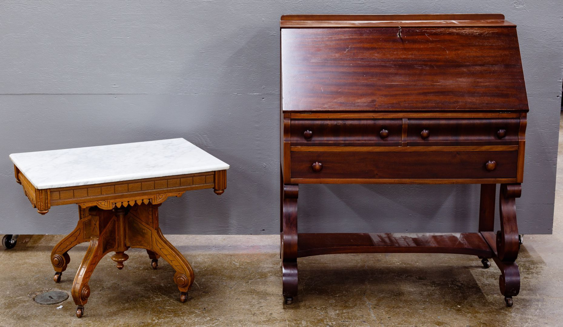 Lot 67 Drop Front Desk And Marble Top Table American Empire