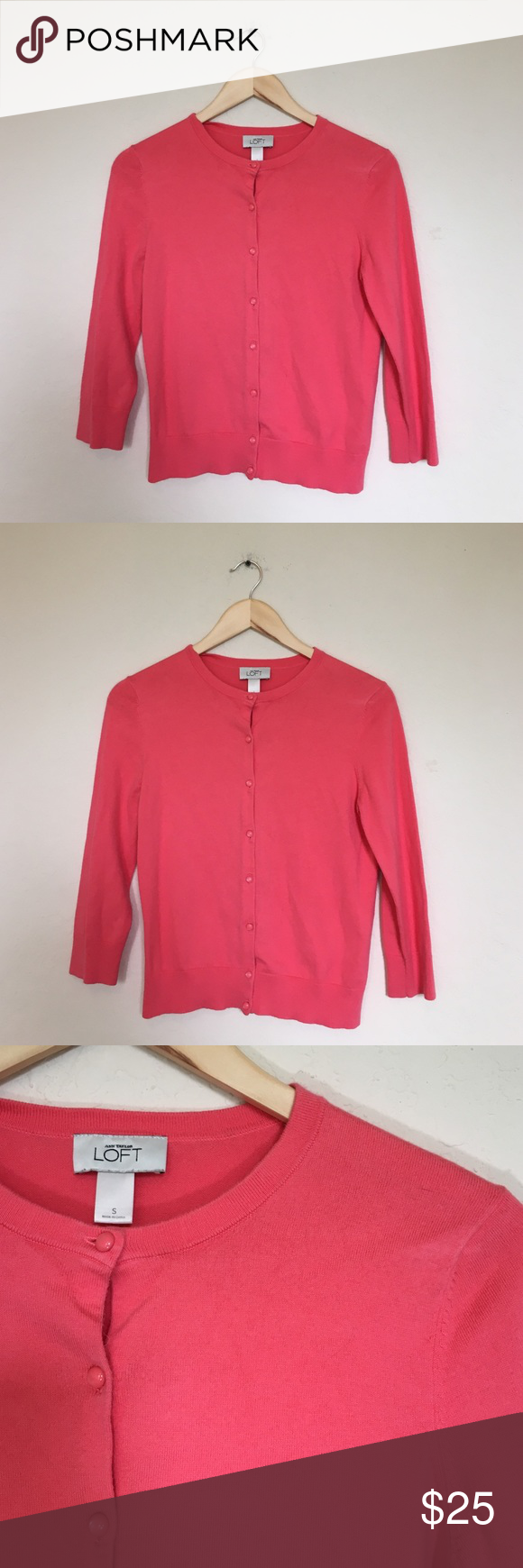 LAST CHANCE Ann Taylor Loft Coral Cardigan Sweater | Sweater ...