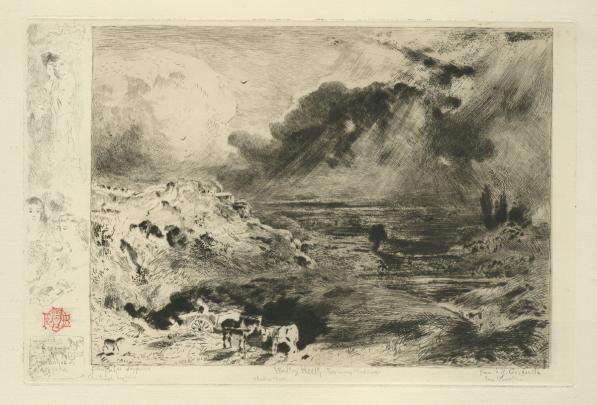 Felix Buhot L'Orage 1879 Drypoint, etching & roulette 5 7/8 x 8 7/8 inches 19th C. > European