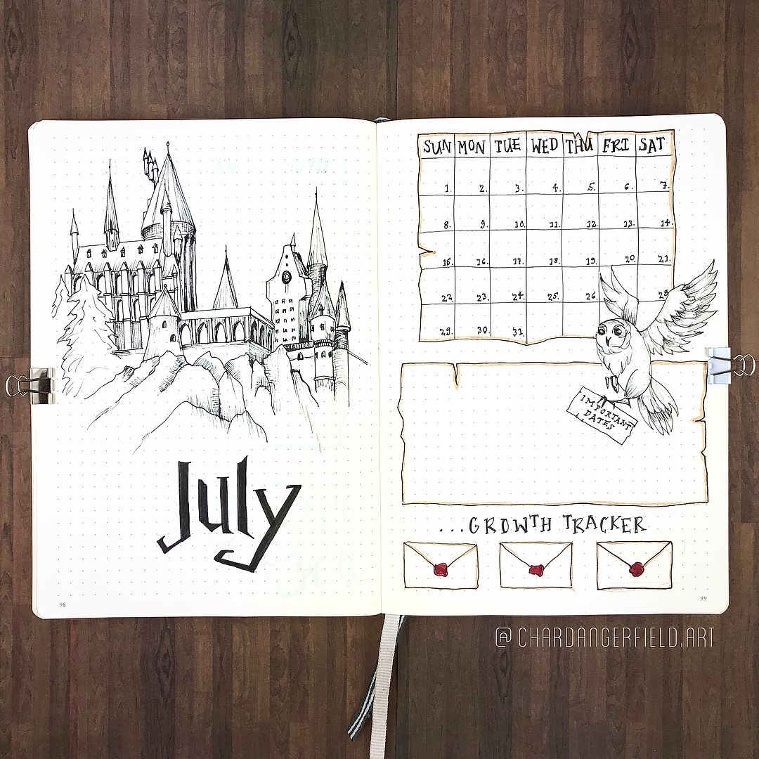 "Char Dangerfield's Journal on Instagram: ""Hello, July! In honour of Harry's birthday month, it's gonna be a very magical set of spreads for these next four and a half weeks ⚡️"" #birthdaymonth"