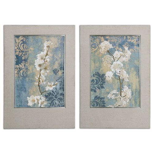 Blossoms champagne and silver framed art set of 2
