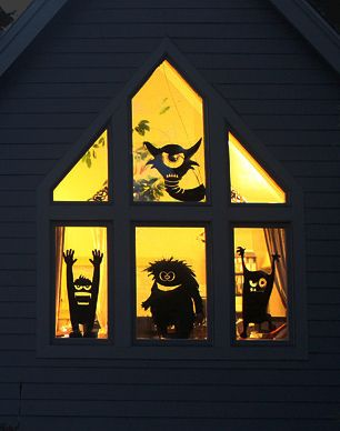 fabulous window monster silhouette decals for halloween decor mix and match your monsters for an - Halloween Window Decals