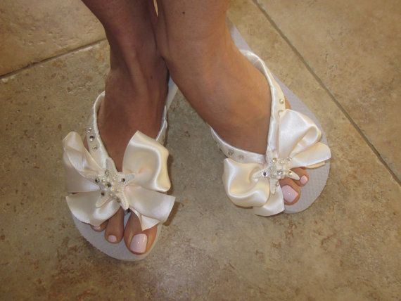 Bridal Flip Flops Wedges With Bow Wedding Shoes Destination Weddings Ivory Beach Bride Real Starfish