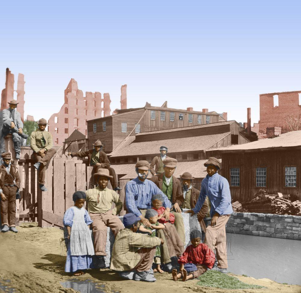 Freedmen by Canal  Richmond Virginia Color Tinted photo Civil War 00468