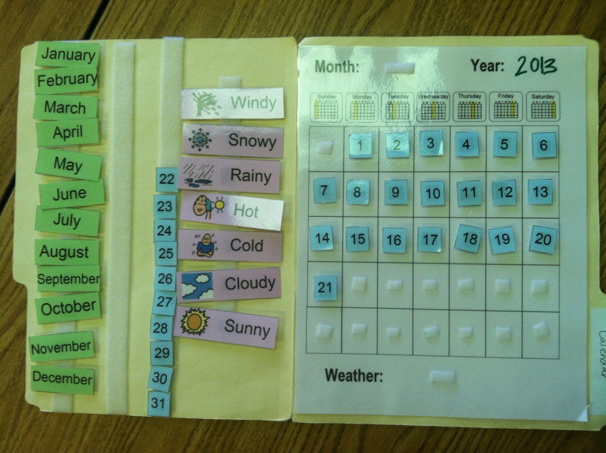 Kindergarten Calendar Folders : Velcro calendar individual folders great idea in the