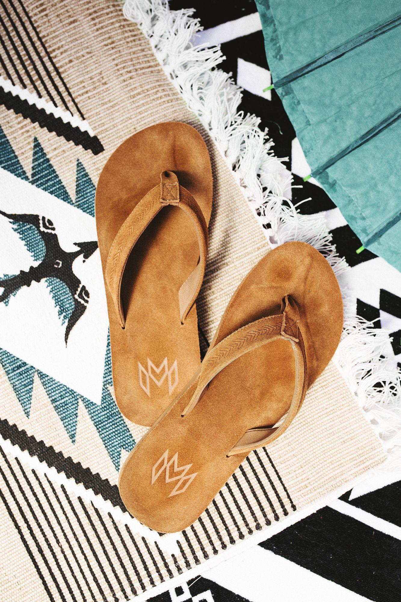 Leather flip flops, Men suede