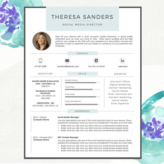 Resume Template For MS Word With Photo | Theresa | 1 U0026 2 Page Resume, Cover  Letter And Reference Sheet | Instant Download | Template, Resume Cover  Letters ...