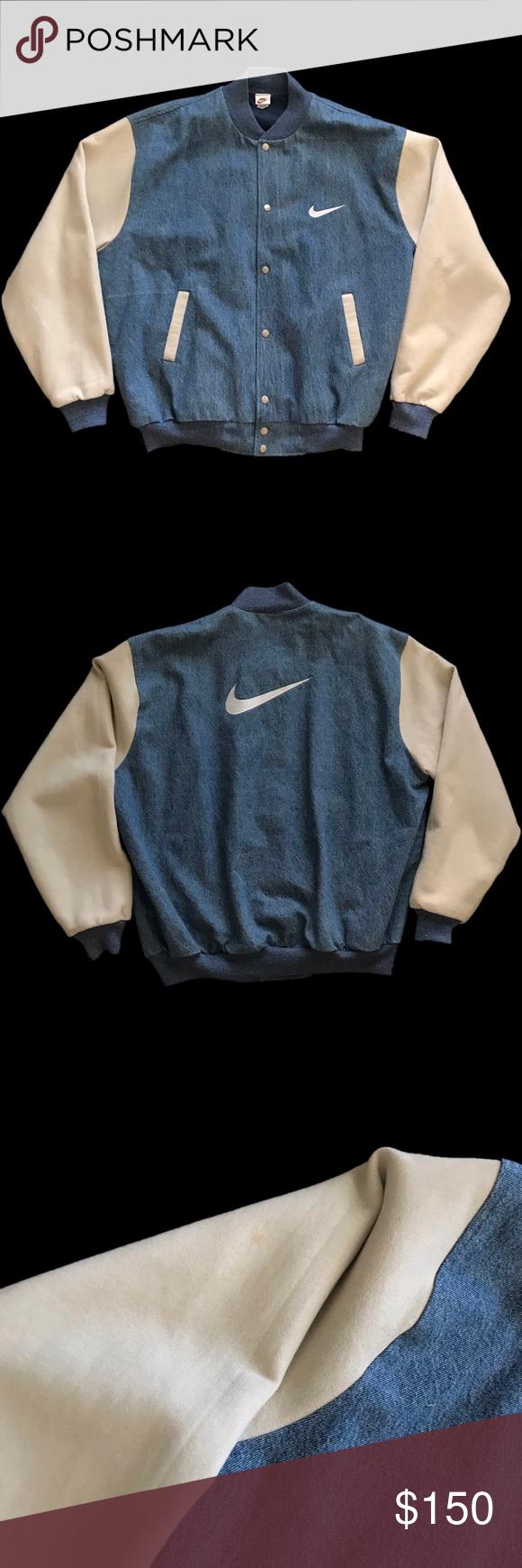 Early 1990s Nike Denim Varsity Jacket Extremely Rare 90s Vintage Nike Varsity Jacket With Front Back Swoosh Logo E Nike Varsity Jacket Varsity Jacket Jackets