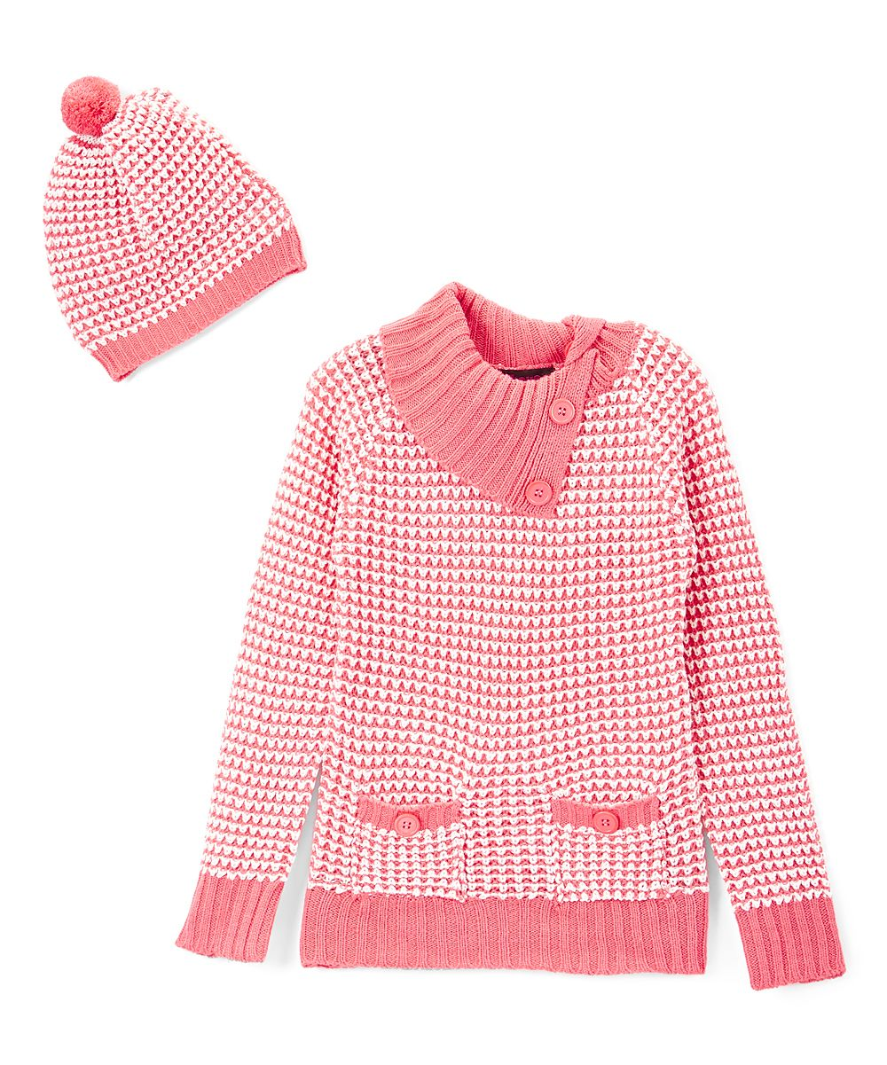 Coral & White Button Cowl Neck Sweater & Beanie - Toddler & Girls ...