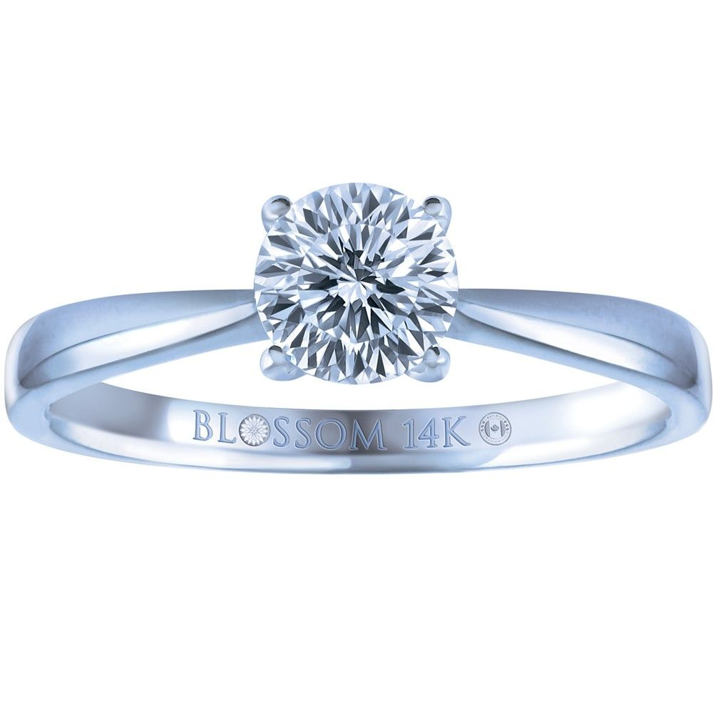 050 Carat Blossom Cut Canadian Diamond 14k White Gold Solitaire