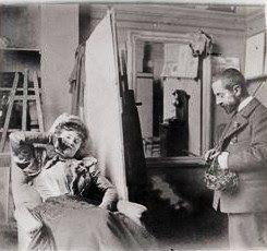 Henri de Toulouse-Lautrec (1864-1901) in His Studio with Misia Natanson    Misia became muse to Toulouse-Lautrec, Bonnard, Vuillard, Renoir, Diaghilev, Cocteau, & Vallaton.