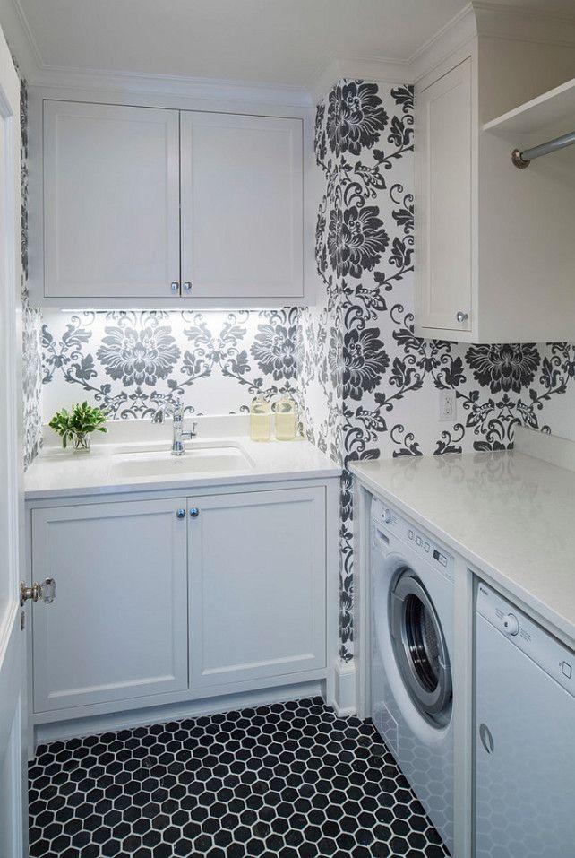 Caesarstone Organic White Quartz Countetop Floor Noir Hex Travertine Mosaic Tile 2 Laundry Room