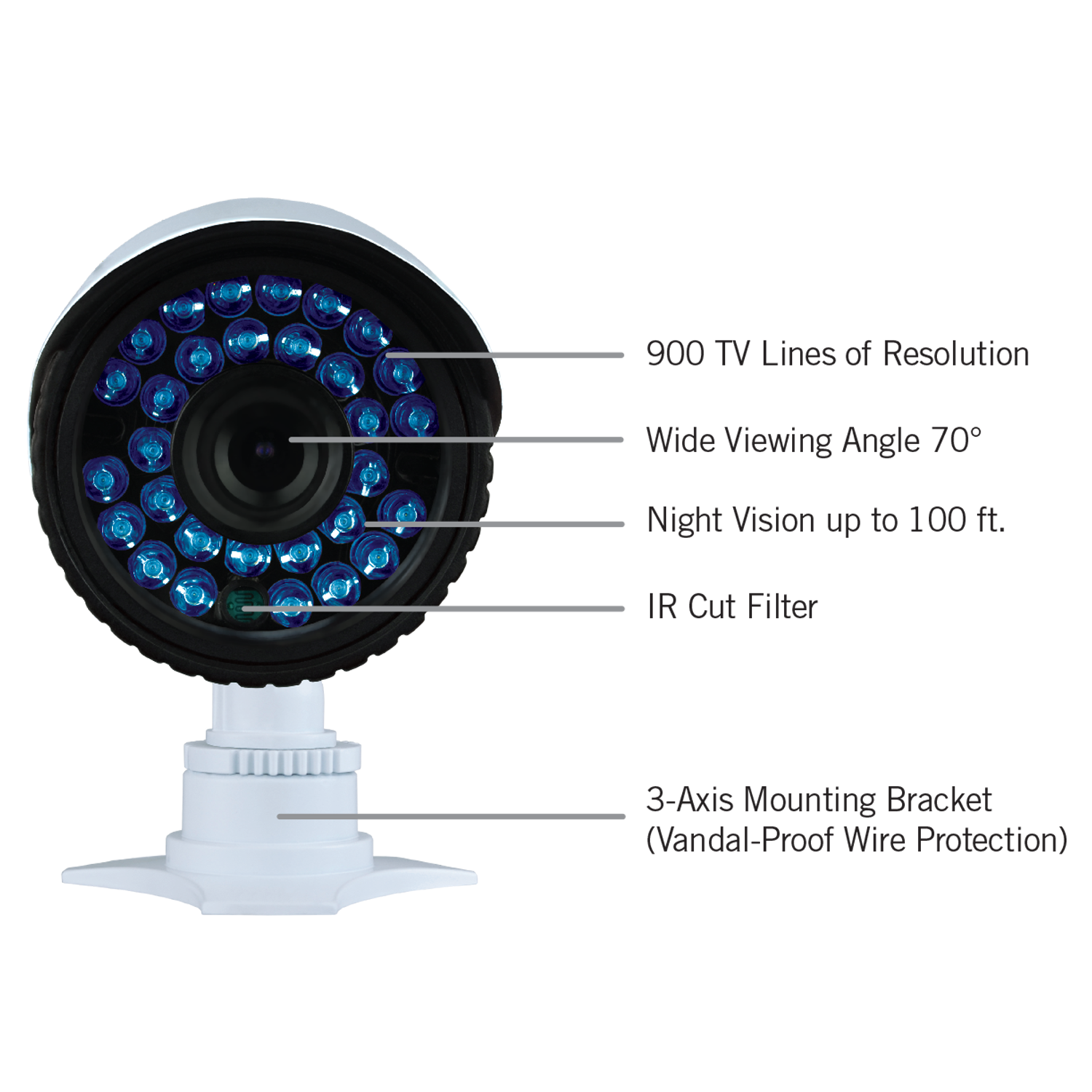 Wide angle 900TVL analog camera with up to 100ft of Night Vision!