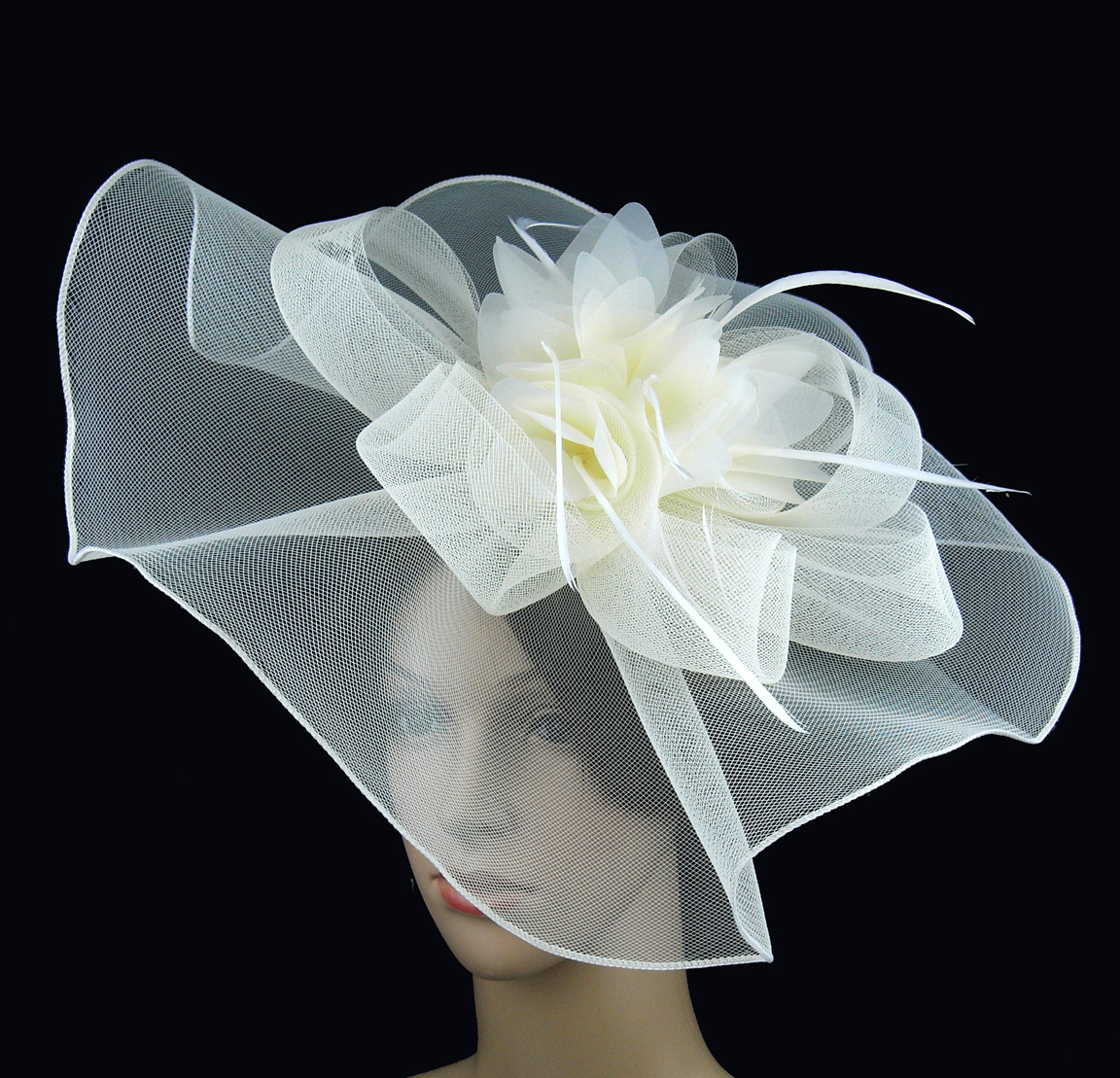 37.99$  Buy here - http://vicfl.justgood.pw/vig/item.php?t=tlhskkw26331 - Handmade Ivory Feather Flower Hat Races Game Party Wedding Fascinator Hair Clip