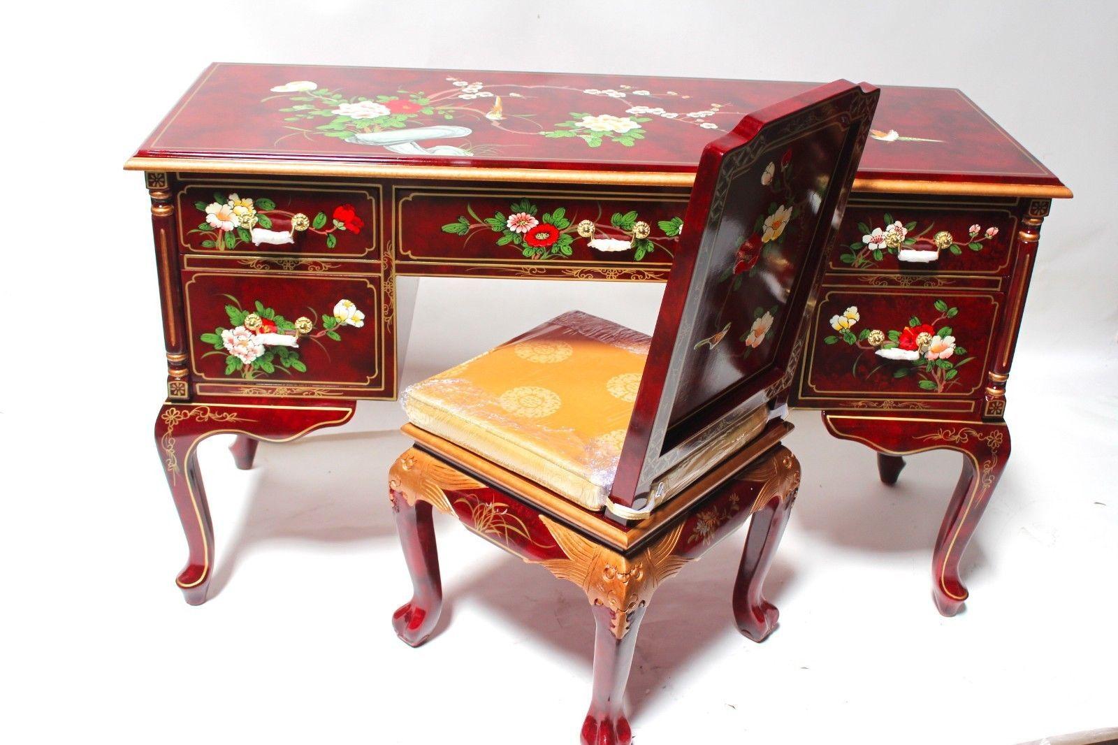 Oriental Desk Chinese Desk Oriental Furniture Burgundy Lacquer