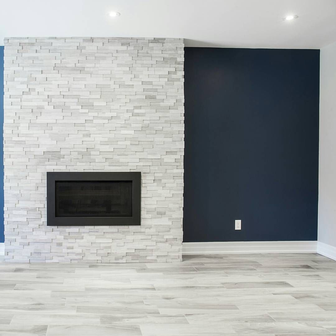 Modern Stone Accent Wall Reception Area: Stone Tile Fireplace Added To An Accent Wall Followed By A