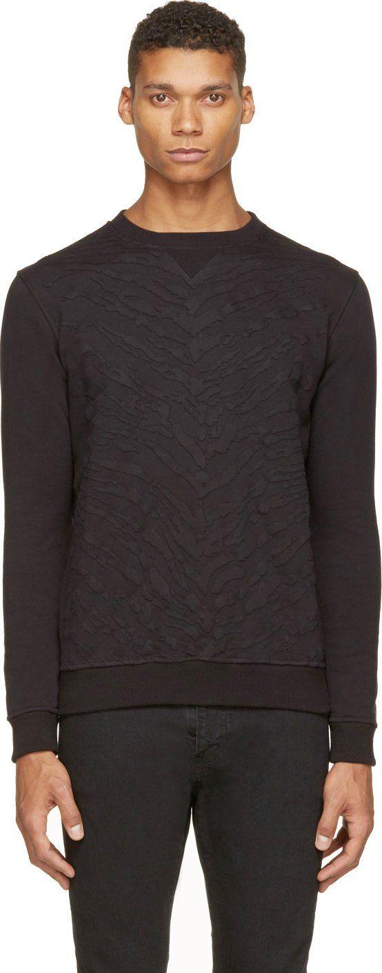 Saint Laurent Black Tiger Stripe Appliqué Sweatshirt