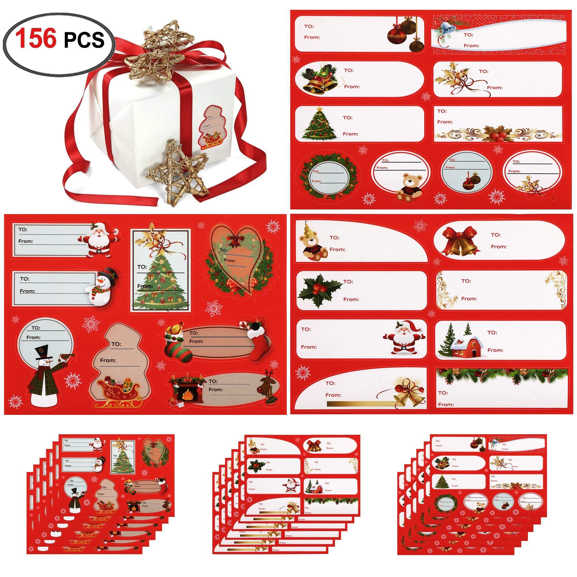 Christmas Gift Labels(156 Labels 18Sheets),Konsait Christmas Name ...