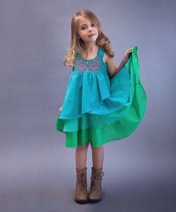 Turquoise & Green Tiered Dress - Toddler & Girls