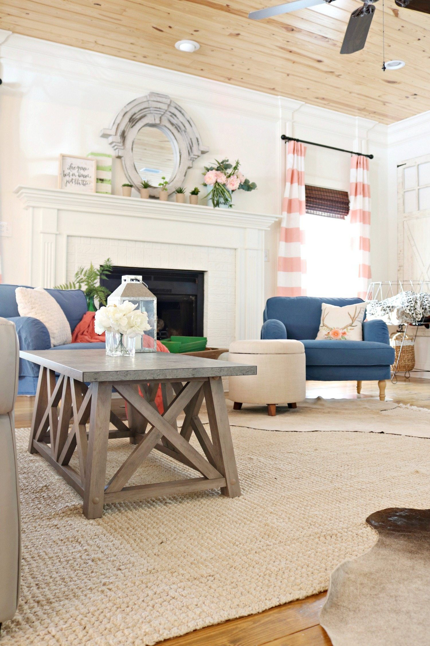 Open Floor Plan Unique Shape Living room decor on a