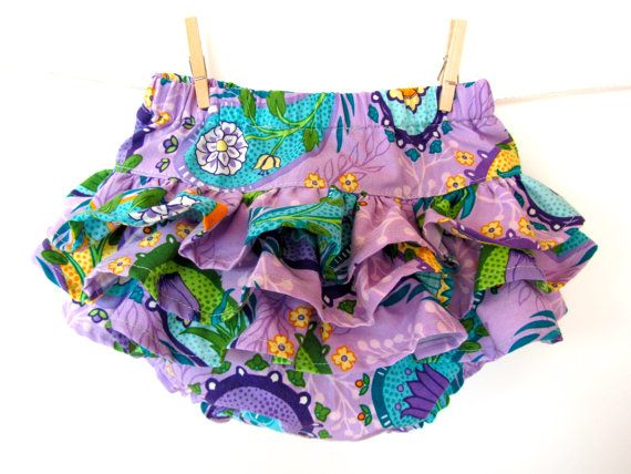 Purple Blue Floral Ruffle Baby Girl Diaper Cover by SweetChicky, $24.00