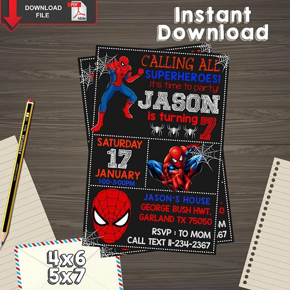 Spiderman Invitation Spiderman Birthday Spiderman Printable