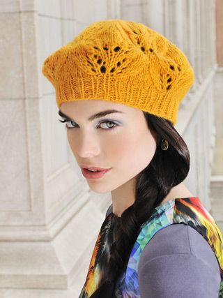 f956909112a31 café beret Design by Melissa LaBarre This flowery beret is knit in a pretty  lace pattern with a single hank of Techno yarn (68% baby alpaca 22%  silk 10% ...