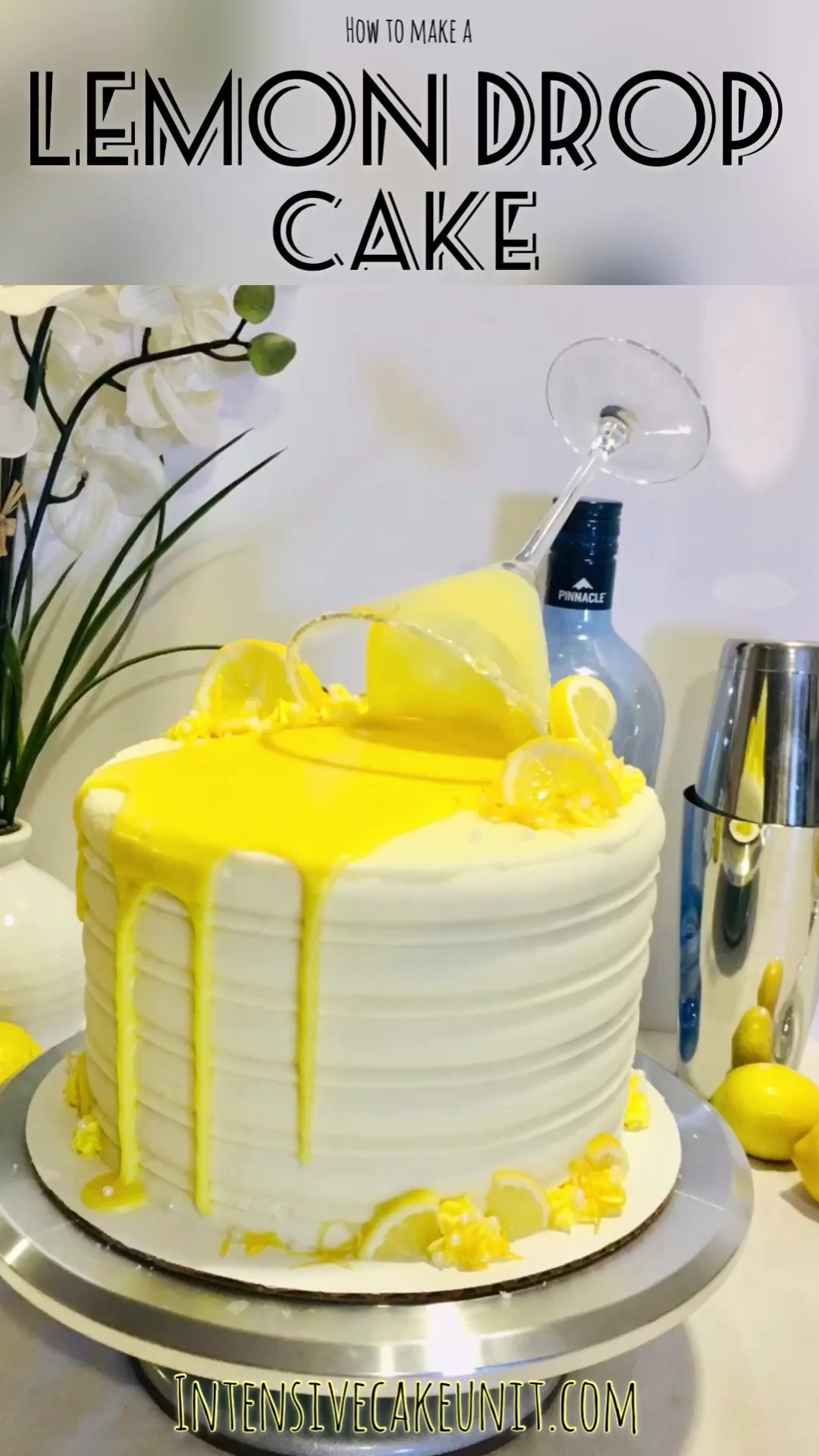 Lemon Drop Cake Vodka and lemon juice-infused Lemon Drop Cake! Lemon cake layers with lemon and vodka frosting, topped with a bright yellow glaze and a martini glass.