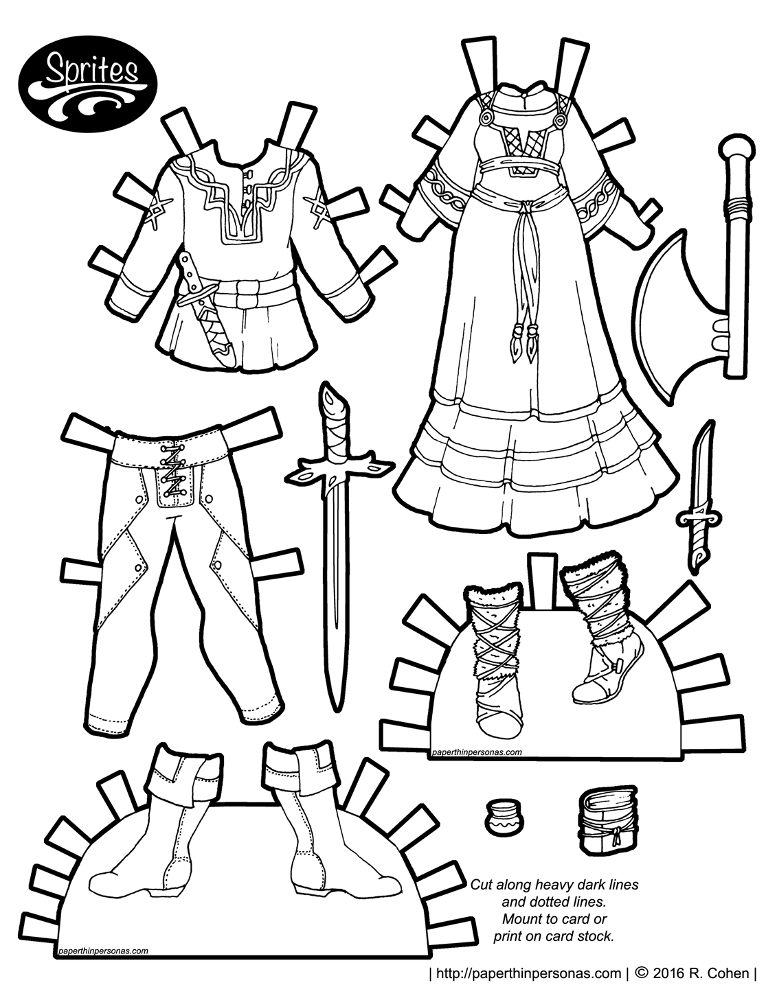 Viking Inspired Fantasy Paper Doll Outfits For A Boy And A
