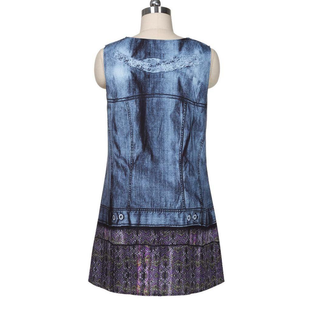 Sunfei vintage boho women summer sleeveless beach printed short mini