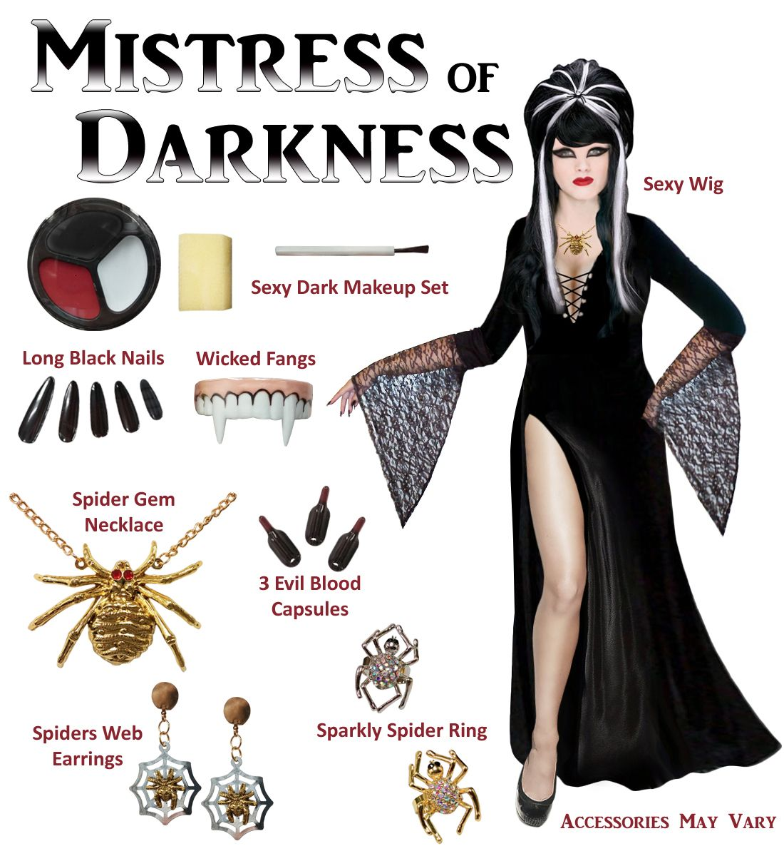45ef53ff7b2b9 Mistress of Darkness Plus Size Supersize Costume   Accessory Kit! Large to  9x