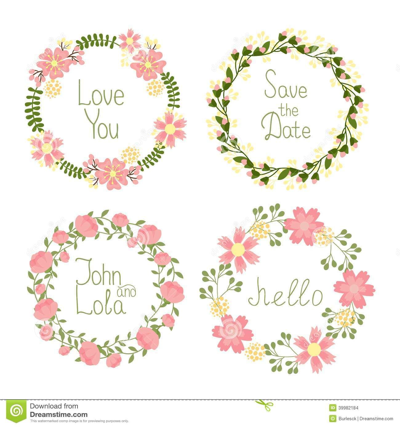 Buy Floral Frame By On GraphicRiver Vector Wreaths Set For Wedding Invitations And Birthday Cards Editable EPS Render In JPG Format