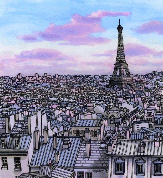 Paris /// Gezgin Sanatçı Maxwell Tilse'den Şehirlerin Mini İllüstrasyonları!   Sanat Karavanı /// Mini illustrations of the cities from the traveling artist Maxwell Tilse!