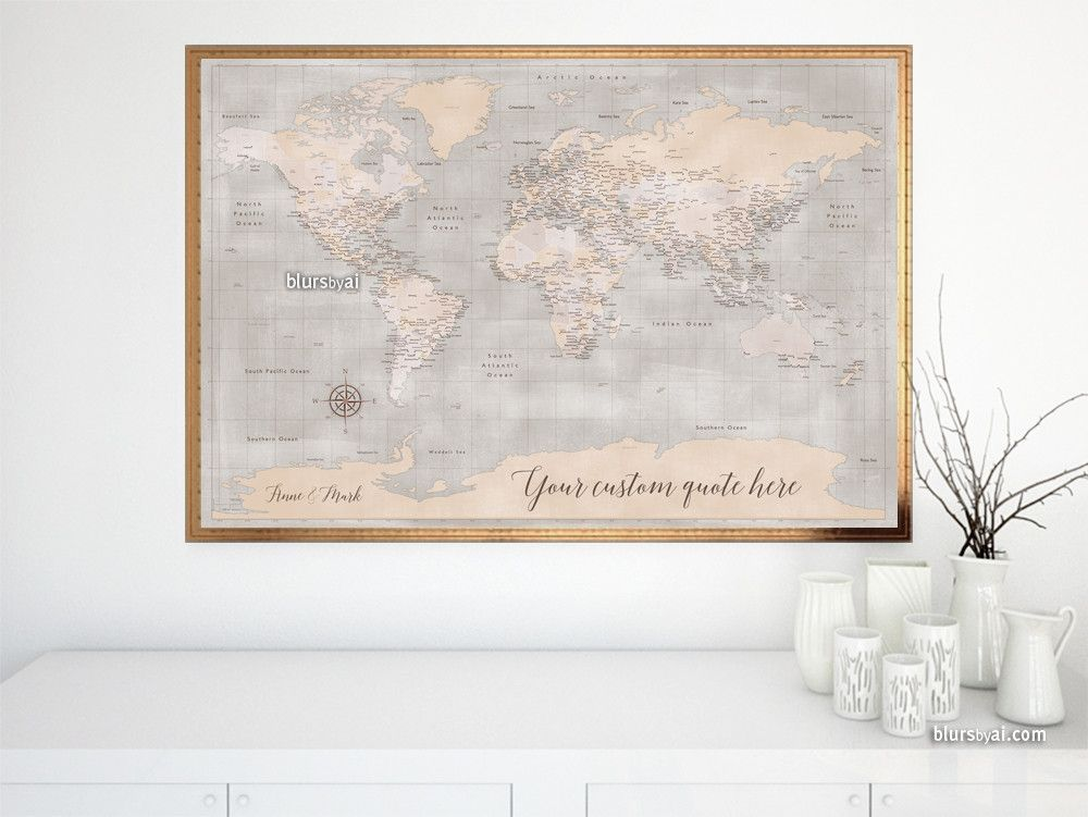 Custom quote world map print rustic map with antarctica and custom quote world map print rustic map with antarctica and cities color combination gumiabroncs Images