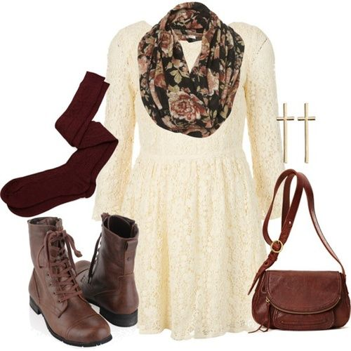 Best Fall Fashion Tips- Pair a short flared lace dress with over the knee sock and dark brown leather boots. Add leather satchel purse & floral infinity scarf