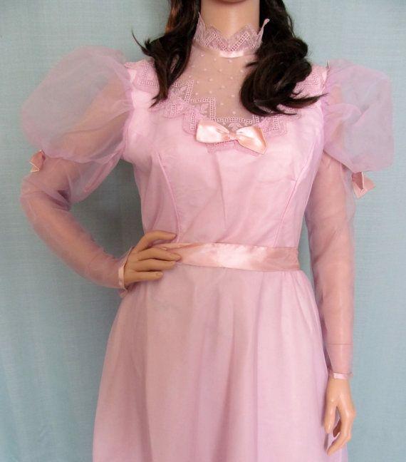 Vintage 70s 80s Prom Dress / 70s 80s Brides Maid Dress / Lace ...