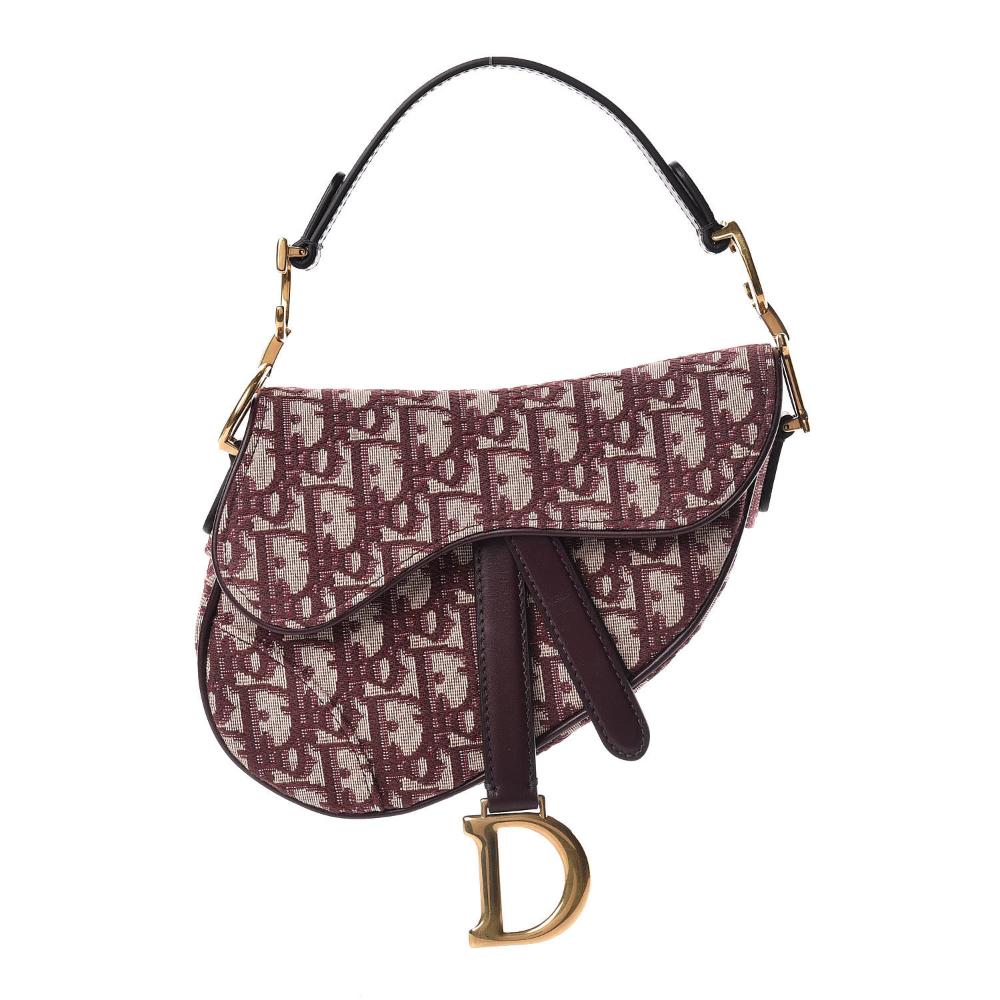 Christian Dior Oblique Mini Saddle Bag Bordeaux Mini Saddle Bags Used Designer Handbags Dior