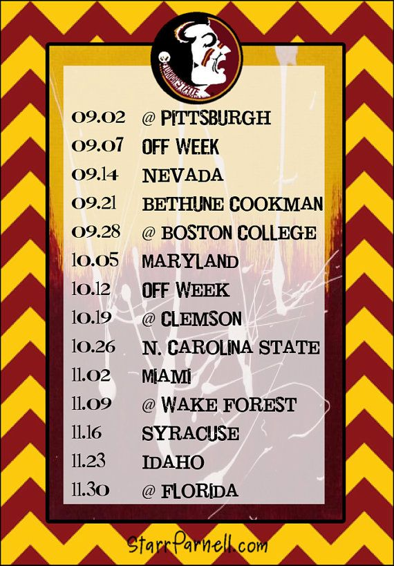 Comprehensive image within fsu football schedule printable