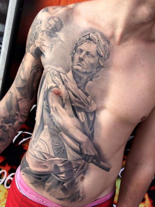 Miguel Bohigues Statue Tattoo Chest Tattoo Tattoos