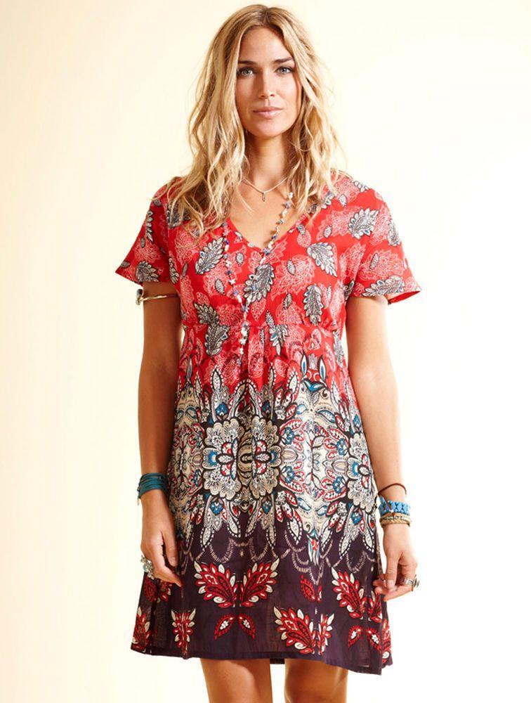 f12f258150b1  SALE  Nomads Red Cotton Voile Summer Tunic Dress Kaftan Top Fair Trade SN24